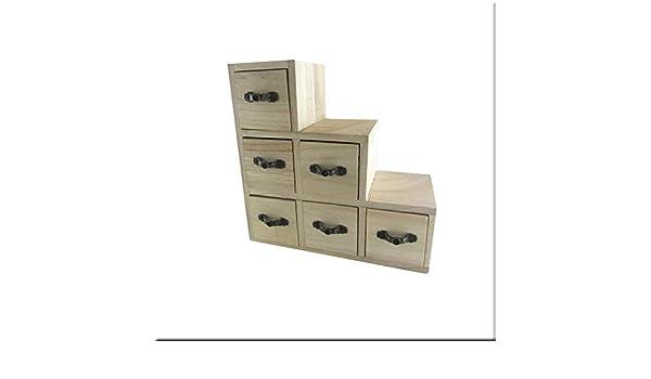 Madera - Caja de Escalera con 6 Cajones, 20 x 20 x 9 cm: Amazon.es: Hogar