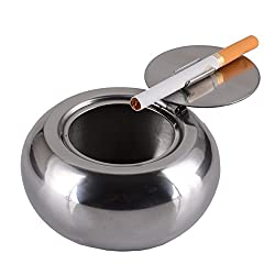 Ashtray, Sissiangle Stainless Steel Modern Tabletop Ashtray With Lid,  Cigarette Ashtray For Patio Or