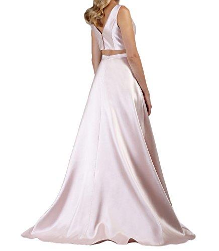 La Ballkleider Abendkleider Elegant Perlen Braut teilig Zwei Flieder Satin Rosa Marie Abschlussballkleider f1rgf