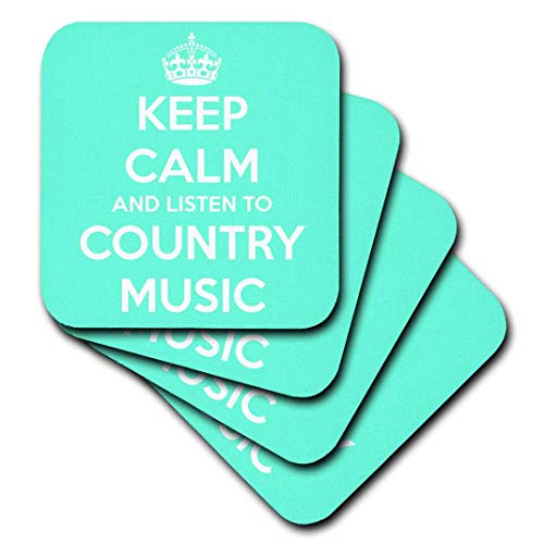 3dRose CST_173403_1 Keep Calm and Listen to Country Music Turquoise and White. Soft Coasters, Set of 4]()
