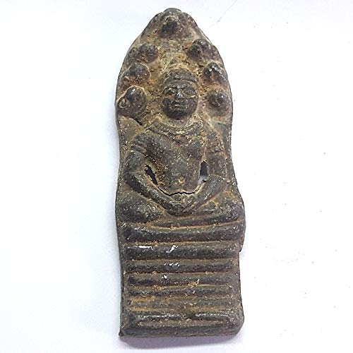 poppip Mix Metal Thai Buddha Amulet Plate Seated on 7 Heads Snake Naga as Throne Vintage Old Figure 6 x 2 cm