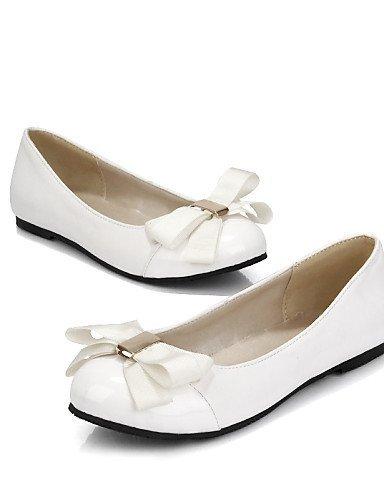 Finta White pelle arrotondata ShangYi Bianco Piatto Ballerine Punta Donna Scarpe Rosa Casual XX8RP0q