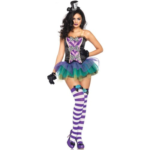 Mad The Sexy Costumes Hatter (Leg Avenue Women's 3 Piece Tempting Mad Hatter Costume, Black/Purple,)