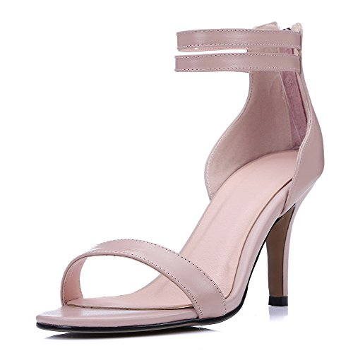 Amoonyfashion Donna Solido Materiale Morbido Tacco Alto Con Cerniera Sandali Open Toe Rosa