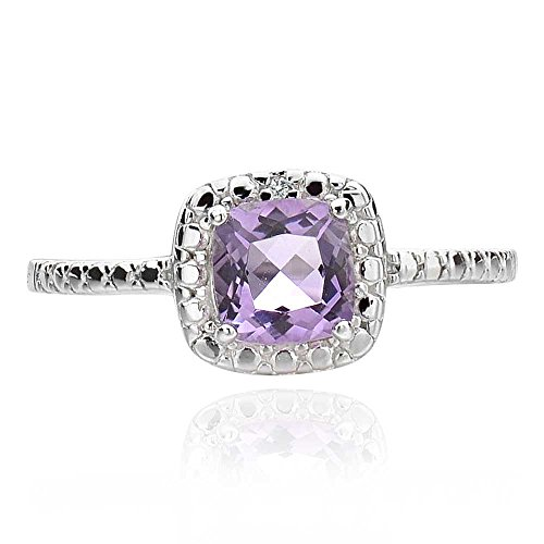925 Sterling Silver Cushion Shaped Brazilian Amethyst & Diamond Accent Square Ring Sz 6