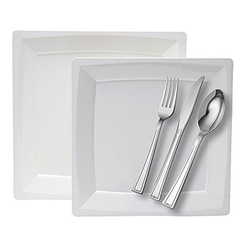 WNA Milan 40 Count Dinner for 8 Combo Set Plates and Cutlery, White ()