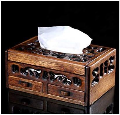 CQIANG スタイリッシュな多機能木製の空のティッシュボックス、クリエイティブ・家庭紙ストレージボックス、小引き出し付きソリッドウッドつまようじボックス (Color : Brown)
