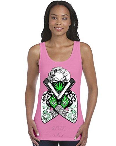 Azalea Pattern - Artix A+ Marilyn Monroe Bandana Weed Pattern Women`s Tank Top X-Large Azalea Pink