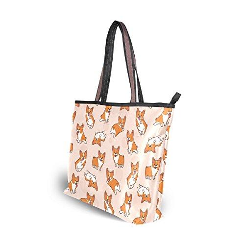 Cartoon Corgis Pattern Tote Bags Women's Stylish Travel Totes Fabric Zippered Tote for Shopping Handbag by Juilyu (Image #6)