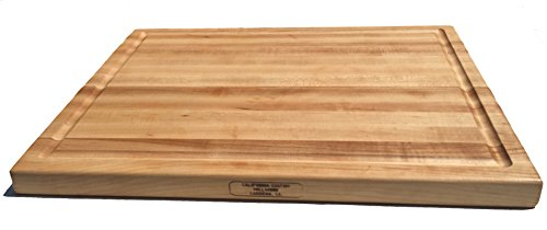Board - Reversible Maple Wood Butcher Block With Juice Groove Made in the USA by California Custom Millwork (20x15x1.25) (Xx Large Slice)