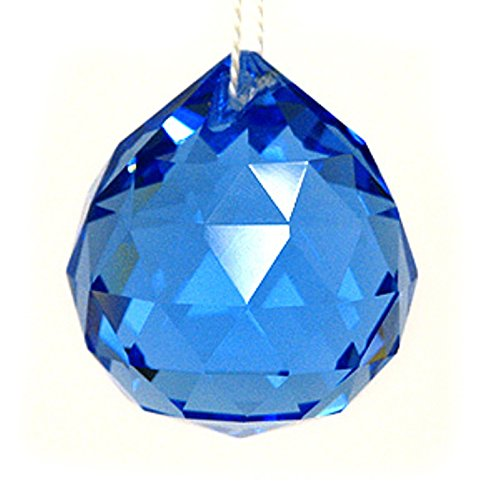 Feng Shui Hanging Faceted Blue Crystal 40mm Sphere Ball with Gift Box, Figurine 21443.