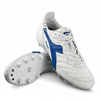 more photos b573a 12b16 Diadora Brasil Italy OG MDPU Football Boots Leather Handmade White Blue   Amazon.co.uk  Sports   Outdoors