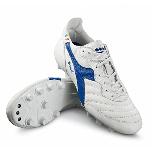 Diadora Brasil Italy OG MDPU Chaussures de Football en cuir Fabriqué à la main blanc/bleu