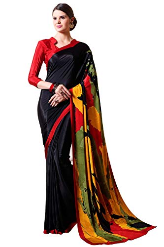 Craftsvilla Women's Crepe Casual Wear ed Saree With Blouse -
