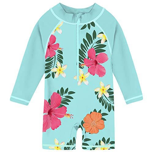 Girls Rash Guard Fashion (uideazone Baby Kids Girls Swimming Costume Long Sleeve Rash Guard Swimwear One Piece UV Sun Protection Swimsuit Beach Clothes Clothing 18-24 Months Blue)