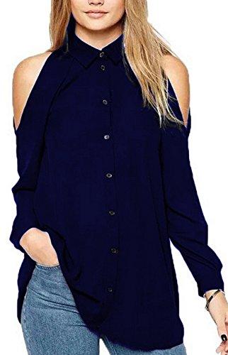 Donne DouYuLike Lunga Spalla Sweatshirt Camicie Manica Pullover Shirts Top Sexy Fredda di scuro Tunica Chiffon Solido Maglietta Colore Sciolto Casual Bluse Blu fSqdwaFS