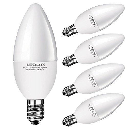 5x E14, LED E14, LED lampe E14, 7W Warmweiss, 710 Lumen Ø 37mm Ra ...