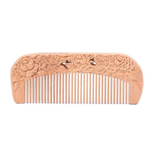 1PC Natural Peach Wood Healthy No-static Massage Hair Wooden Comb Health Care (Type - J)