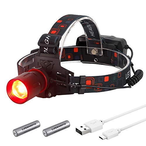 LUMENSHOOTER H10 T6 High Lumen Powerful RED LED Zoomable Hunting Headlight USB Rechargeable Hunting Headlamp for Scanning Coons,Coyotes,Predators (RED)