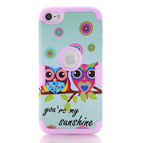 iPod 6 Owl Case,iPod Touch 6 Case,SAVYOU Sunshine Cute Owl Pattern Three Layer High Impact Armor Case Cover Protective Case for Apple iPod Touch 5th / iPod Touch 6th Generation