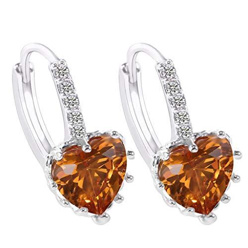 (Gahrchian Rhinestones Earrings Stud Swarovski Crystal Pendant Earrings Stud for Women and Girls Gift Jewelry (Khaki))