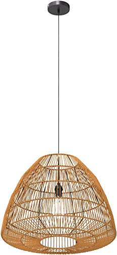 Stone & Beam Rustic Global Round Woven Pendant with Bulb, 44.5''H, Natural Rattan by Stone & Beam (Image #7)