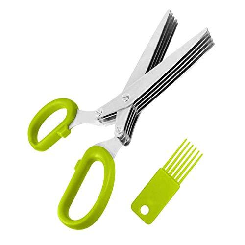5 Layers Scissors Sushi Shredded Scallion Cut Herb Tool Multi-layer Shear Chopped Onion Cuts (Green) ()