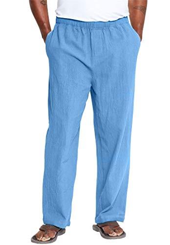 (KingSize Men's Big & Tall Elastic Waist Gauze Cotton Pants, Ocean Blue Tall-L)