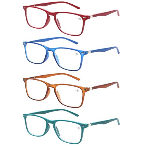 Reading Glasses with Strong Spring Hinge Eyeglasses Frames for men and women readers (4 Mix, ()