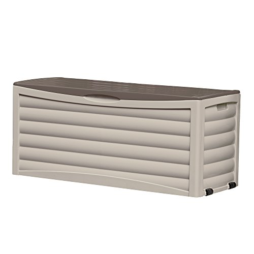 Suncast Resin 103 Gallon Large Patio Storage Box with Wheels - Outdoor Bin Stores Tools, Accessories and Toys - Store Items on Deck, Patio, Backyard - Taupe (Box Storage Outdoor Seat)