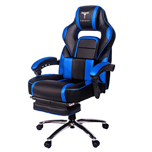 TOPSKY High Back Racing Style PU Leather Computer Gaming Office Chair Blue
