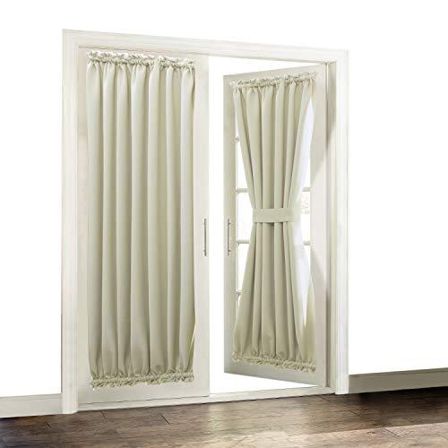 Aquazolax Plain Blackout Curtains French Door Panels Premium - 1 Piece, 54 x 72, Light Saga Beige