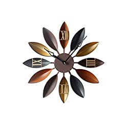 HDZWW 20-inch European-Style Iron Creative Modern Wall Clock Silent Non-Ticking AA Battery Operated Wall Clock for Living Room Bedroom Home Office School