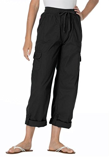 Women's Plus Size Pants With Convertible Length Black,34 W