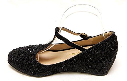 hidden Black Womens strap shoes Chase heel toe Chloe Bobby glitter amp; bead rhinestone T upper 7A round pump wxSAITIX8q