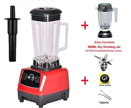 Heavy Duty Grade Blender Mixer Juicer High Power Food Processor Ice Smoothie Bar Fruit Blender,Red dryjar fullparts,EU Plug