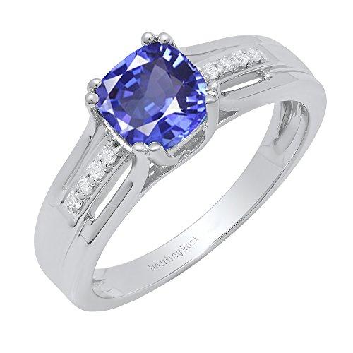 Dazzlingrock Collection Sterling Silver 6 MM Cushion Tanzanite & Round Diamond Ladies Bridal Engagement Ring, Size 9