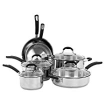 Oneida 10 Piece Stainless Steel Cookware Set With Glass Lids