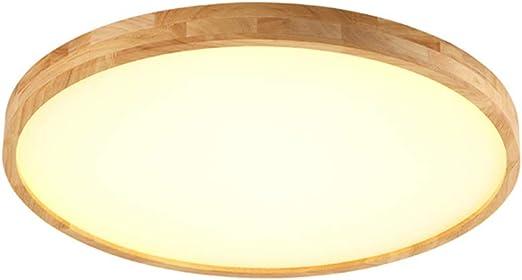 Nordic Modern Holz Deckenlampe Esszimmer B/üro Schlafzimmer warmwei/ß,Runde Holz Lampe f/ür Wohnzimmer Kinderzimmer Leuchte Decke Licht Holzlampe,40cm//24W//warmlight 18W LED Deckenleuchte