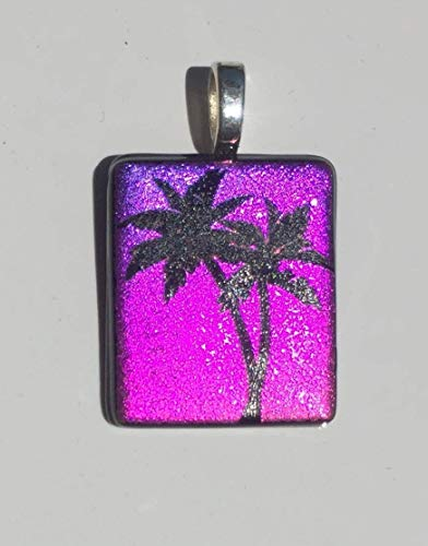 Pink Purple Palm Tree Laser Engraved Etched Dichroic Fused Glass Pendant