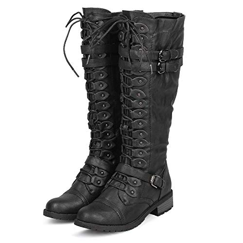ShoBeautiful Women's Knee High Lace Up Buckle Winter Combat Stacked Heel Riding Boots Black 7h - Boot Strap Knee