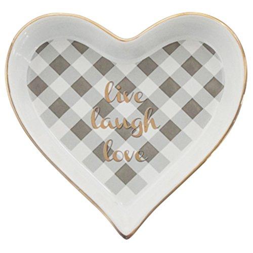Mini Ring Snack Holder Dish Ceramic Tray Golden Heart Design live laugh love