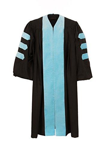 [해외]미국 박사의 가운 (하늘색 벨벳과 배관이없는 검은 색)/American Doctoral Gown (Black with sky blue velvet and no piping)