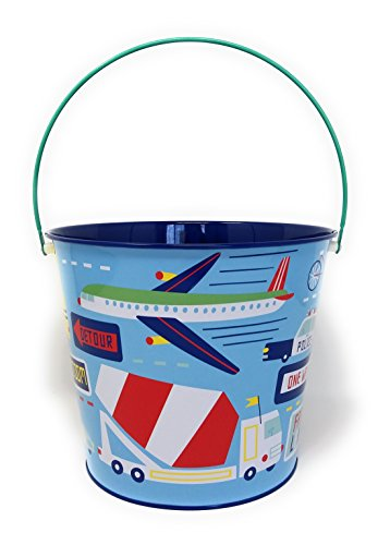 Police Transportation Airplane Truck Bucket - Boys Halloween Pail - Center Piece Baby Shower Room Decoration Accessory