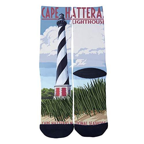 - Men's Women's Custom Crew Socks Outer Banks Cape Hatteras Lighthouse Socks Colorful Patterned Comfortable Socks Black