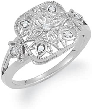 Vintage Style Diamond Square Ring in Silver