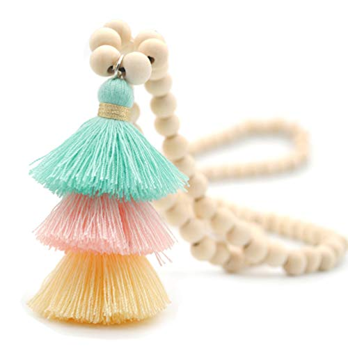 (Bohemian Long Necklace Pendant Tiered Layered Tassel Thread Fringe Beads Chain Women Girls Light Green)