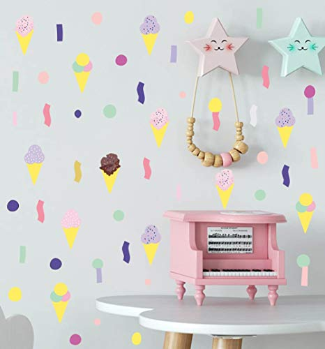 Colorful Ice Cream Wall Decal, Paint Brush Stroke Dots Wall Sticker for Kids Bedroom Decoration,Nursery DIY Wall Art (89 pcs)
