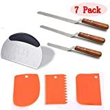 (Set of 7)Cake Decorating Tools Set,3pcs Premium Offset Icing and Frosting Spatula Set +1pcs Dough Bench Scraper + 3pcs Plastic Bowl Scrapers(2 Sided Decorating Comb and Icing Smoother )