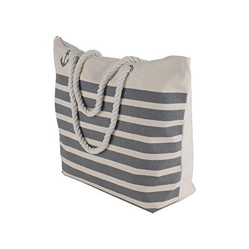 Canvas Heavy Cotton Rope Handles Stripe Zipper Closure Women Premium Straw Beach Tote Bag by BB (Grey) by BB (Image #1)